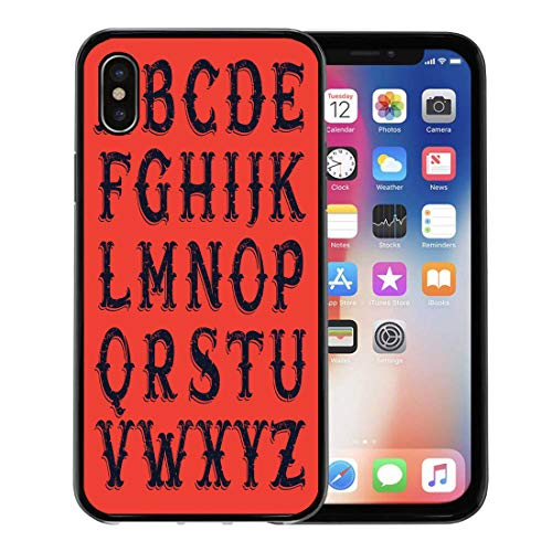 Semtomn Phone Case for Apple iPhone Xs case,Red Circus Vintage Western Victorian for Historical Labels Halloween Alphabet for iPhone X Case,Rubber Border Protective Case,Black -