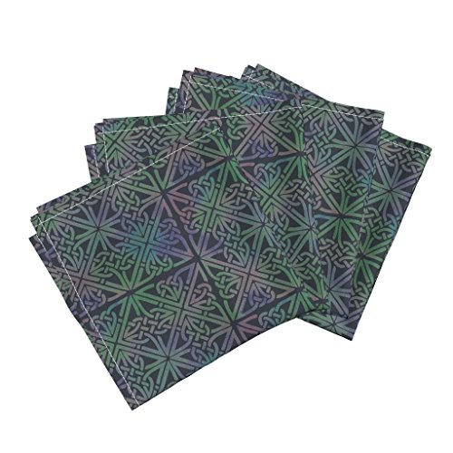 Midnight Elephants (Green Organic Sateen Dinner Napkins Celtic Square Midnight by Elephant Trunk Studio Set of 4 Cotton Dinner Napkins made by Roostery)