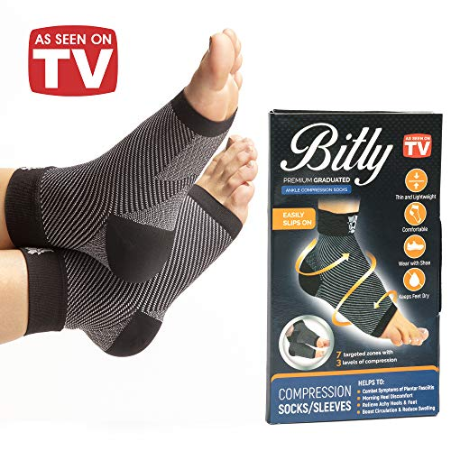 Bitly Plantar Fasciitis Foot, Ankle Brace & Compression Sleeve for achilles tendon support, can be used as ankle brace for men and women, wrap or support sleeve. As Seen On TV Products 2018 (As Seen On Tv Socks For Plantar Fasciitis)