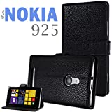 YESOO™ Nokia Lumia 925 Folio Leather Case Flip Cover and Stand (Black)