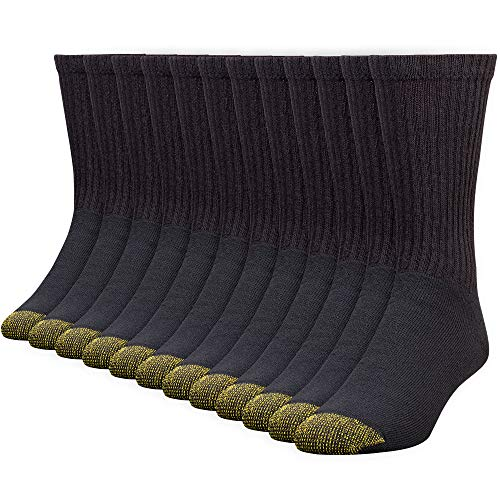 Gold Toe Men's Cotton Crew 656s Athletic Sock (12 pair Pack), Black, Shoe Size: 6-12.5 (Sock Size: 10-13)