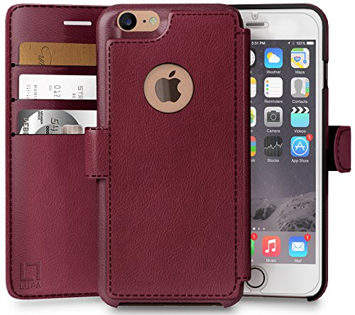 iPhone 7 Wallet Case, Durable and Slim, Lightweight with Classic Design & Ultra-Strong Magnetic Closure, Faux Leather, Burgundy, Apple 7 (2016)