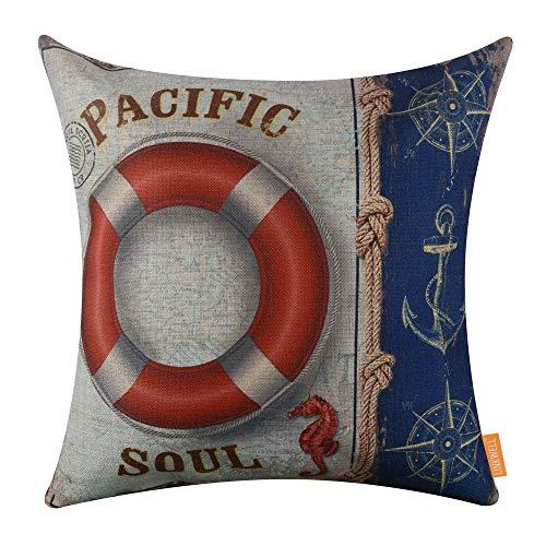 MANGO. Cushion Cover - 45x45cm Vintage Dark Blue Anchor Compass Pacific Soul Life Buoy Seahorse Sea Authentic Pillowcase Burlap Cushion Cover - by GTIN - 1 PCs