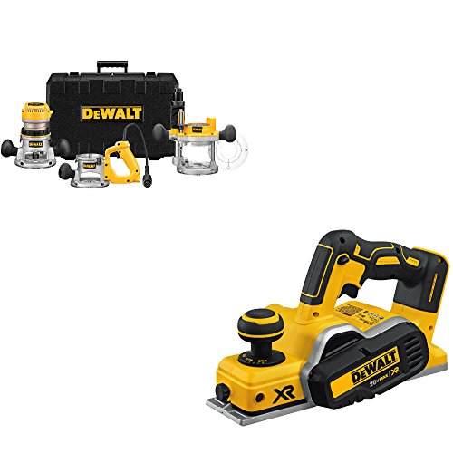 DeWalt DW618B3 2-1/4 HP Three Base Router Kit w/DCP580B 20V Brushless Planer