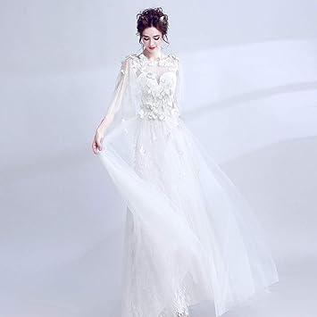 WJZ Vestido De Novia Qi Blanco con Mangas Chal En La Cintura Arco Bordado Vestido De