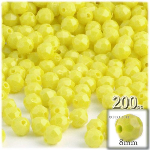 (200pc Plastic Round Opaque Faceted Beads 8mm Yellow beads)