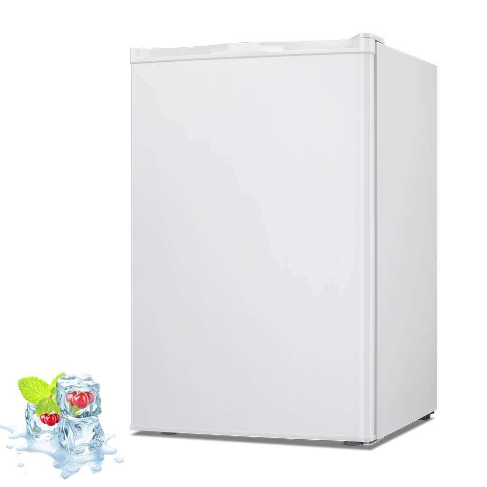 Kismile 2.1 Cu.ft Upright Freezer with Compact Reversible Single Door,Removable Shelves/ Free Standing Mini Freezer with Adjustable Thermostat for Home//Kitchen//Office Stainless steel, 2.1 cu.ft
