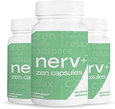 Nerv Plus Zen Capsules - for Managing Anxiety, Less Stress, Enhance Focus, No Crash, Vegan Capsules with Magnesium, L-theanine, Vitamin B - Health Supplement for Men and Women - (Non-GMO & Soy-Free)