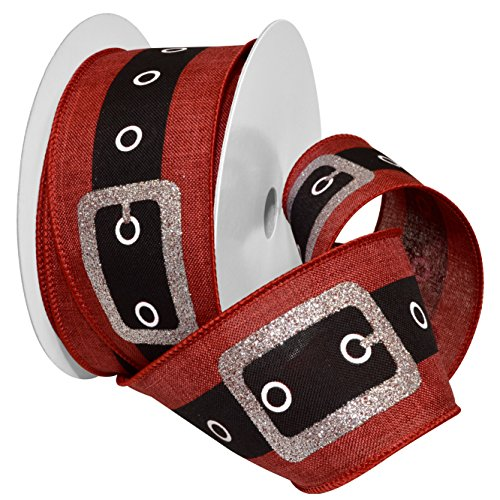 Morex Ribbon 7704.60/20-609 French Wired Polyester Santa's Belt Ribbon, 2-1/2