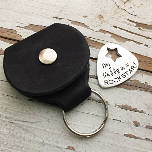 Hand Stamped My Daddy is a Rockstar Guitar Pick and Case Plectrum Father's Day Gift