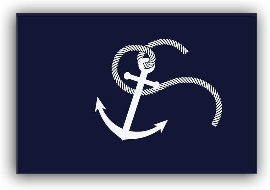 """Home Bathroom Bath Shower Bedroom Mat Toilet Floor Door Mat Rug Carpet Pad Doormat(18""""x30"""")(White Nautical Anchor Navy Blue)"""