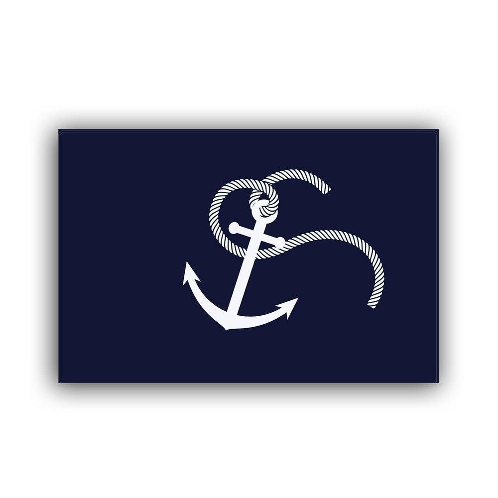 Home Bathroom Bath Shower Bedroom Mat Toilet Floor Door Mat Rug Carpet Pad Doormat(23.6 x15.7inch)(White Nautical Anchor Navy Blue )