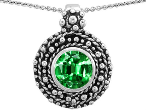 und 7mm Simulated Emerald Pendant Necklace Sterling Silver (Bali Style Star)