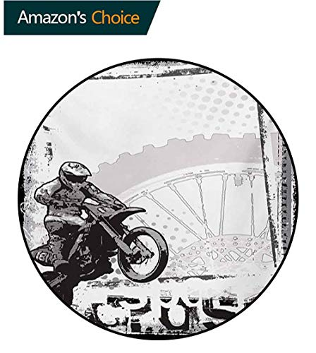RUGSMAT Motorcycle Modern Machine Washable Round Bath Mat,Motocross Racer Image Grungy Background Poster Style Monochromic Artwork Print Non-Slip Soft Floor Mat Home Decor,Diameter-55 Inch