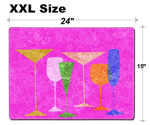 Luxlady Extra Large Mouse Pad XXL Extended Non-Slip Rubber Gaming Mousepad 24x15 Inch, 3mm thick Stitched Edge Desk Mat IMAGE ID: 23868975 Assorted stylized glasses for martini wine brandy etc (Assorted Brandy)