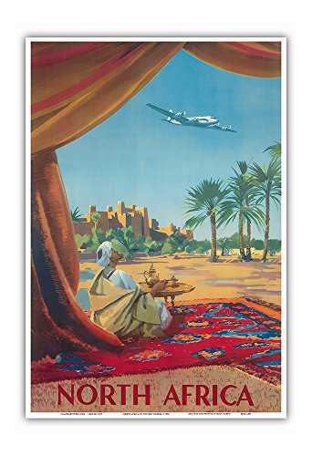 (Pacifica Island Art North Africa - Saharan Desert - Vintage Airline Travel Poster by Vincent Guerra c.1950 - Master Art Print - 13in x 19in)