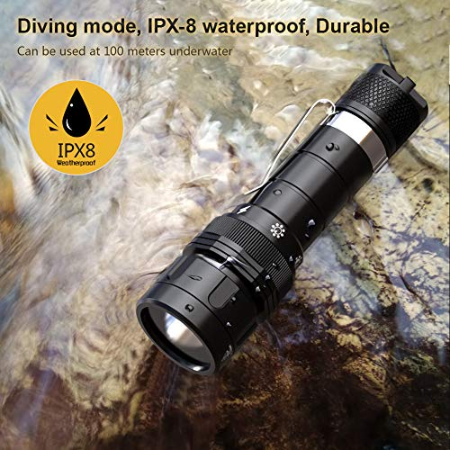 VOLADOR Dive Light Rechargeable Underwater Flashlight Submarine Torch Light with 18650 Battery and Charger 1080Lumens Scuba Diving Flashlight