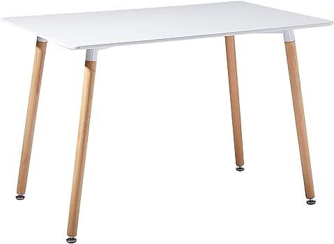 Tavolo bianco da pranzo in legno. scrivania da ufficio con gambe in legno 120x70x72cm B083M2KGKN