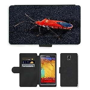 PU LEATHER case coque housse smartphone Flip bag Cover protection // M00130694 Escarabajo rojo Escarabajo Insecto // Samsung Galaxy Note 3 III N9000 N9002 N9005