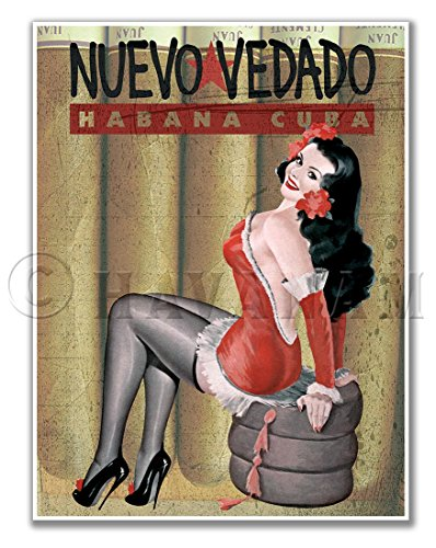 NUEVO VEDADO Cuban Cigar Pinup Girl Art Print - measures 24