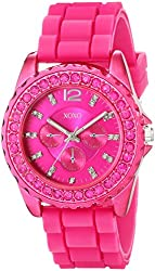XOXO Women's XO8042 Rhinestone-Accented Watch with Fuschia Silicone Strap