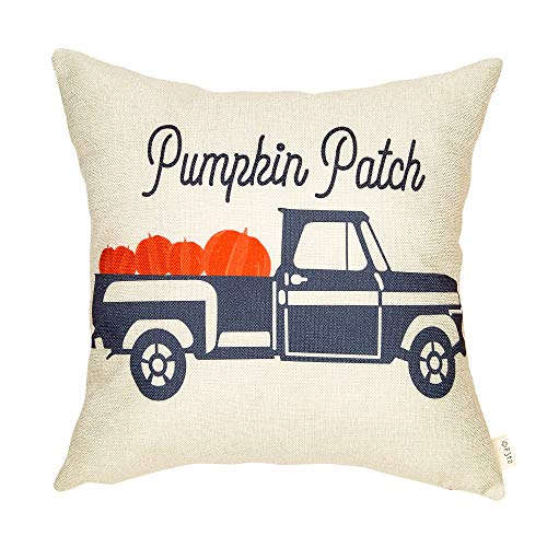 Fjfz Farmhouse Pumpkin Patch Truck Sign Halloween Fall Decor Thanksgiving Day Quote Cotton Linen Home Decorative Throw Pillow Case Cushion Cover Words Sofa Couch, 18