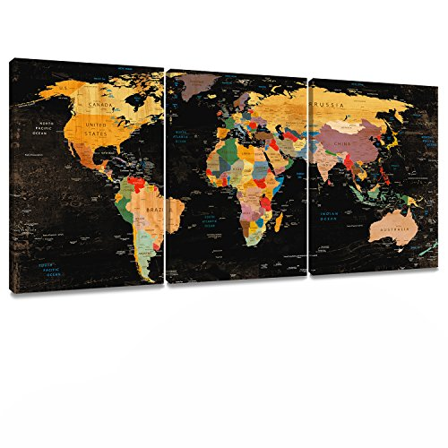 Decor MI Colorful World Map Wall Art on Canvas Black Deco Prints Paintings 3 pieces Travel Map of the World Children Education Ready to Hang Map Decor Artwork for Home Living room Decoration by Decor MI