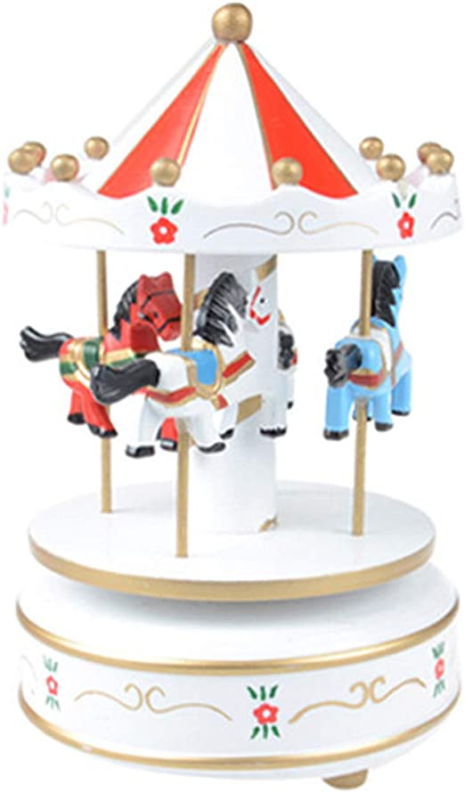 Noyokere Vintage carrusel de Madera Caja de m/úsica ni/ño ni/ña Navidad Regalo de cumplea/ños Juguete Boda decoraci/ón