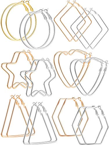 12 Pairs Stainless Steel Geometric Hoop Earrings - Round Square Heart Triangle Star Hexagon Hoop Earrings for Women Girls
