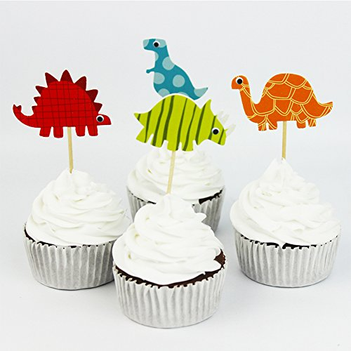 Toonol 24pcs Dinosaur Party Supplies Cartoon Cupcake Toppers Pick Kid Boy Birthday Party Decorations