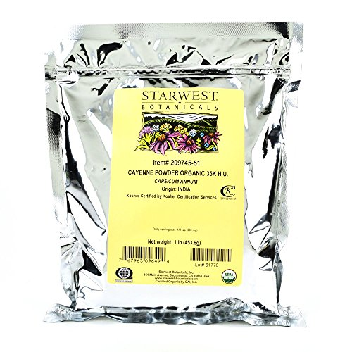 Starwest Botanicals Organic Ground Cayenne Pepper Powder 35K H.U, 1 Pound Bulk Spice (Cayenne Pepper Spice)