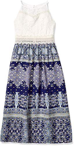Amy Byer Girls' Big' High Neck Lace Detail Maxi Dress Navy/Mint Foil Dash Paisley Border 8