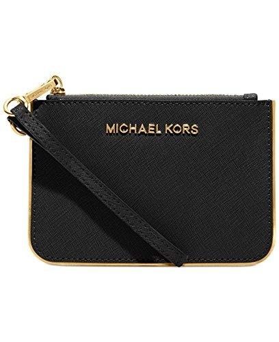MICHAEL Michael Kors Specchio Jet Set Travel Small Wristlet in Black with Gold Trim