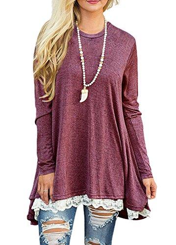 Afibi Women Lace Long Sleeve A-line Swing T-Shirt Loose Tunic Top Blouse (Large,Burgandy) ()