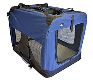 "topPets Portable Soft Pet Carrier - Large: 28""x20""x20"" - Dark Blue"