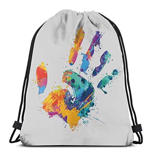 Mefond Drawstring Backpack Bag,Cinch Sack,Gym Sack,for Girls Or Men Shopping,Sport,Gym,Yoga,School,Handprint Pigment ()