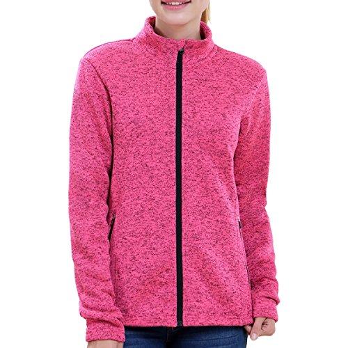 BELE ROY Women Knit Jacket Active Outdoor Full-Zip Coat Fleece Lined(Pink M)