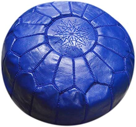 Moroccan Pouf Footrest Hassock Ottoman Handmade Leather Genuine 22 inches Diameter Unstuffed