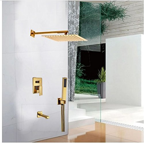Gowe Contemporary Single Lever Shower Faucet Golden Polish Shower Set 3-Way Mixer Faucet 0