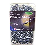 1/0 Twist Link Coil Metal Chain 10 Feet - Max Load 415 lbs - for gates or security Steel Chain length home & business