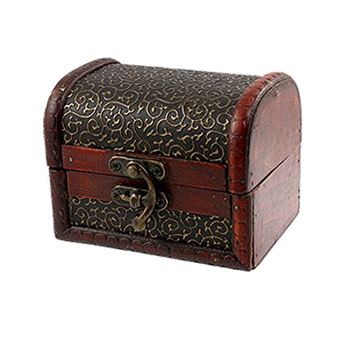 T&J Exclusives 1 X Bronze Tone Embossed Flower Old Stye Wooden Jewelry Box Case - Exclusive Wooden Box