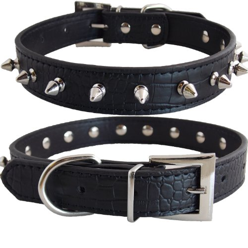 Premium Gator Crocodile PU Leather Silver Spike Protective Adjustable Pet Dog Puppy Fashion Collar (Black, Small)