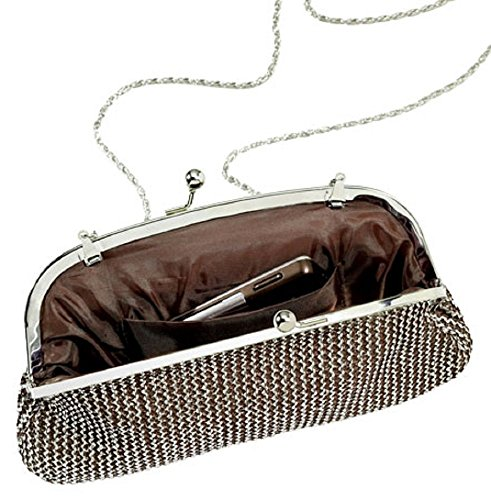 Avon Marianne Clutch, Handtasche, Kettengeflecht, mit abnehmbarer Kette, silberfarben / messingfarben