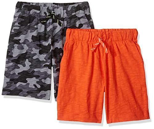 (Spotted Zebra Little Boys' 2-Pack Jersey Knit Shorts, Grey Camo/Orange, X-Small (4-5) )