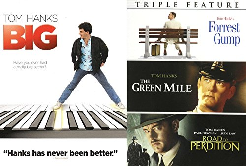 Tom Hanks Collection Green Mile / Road to Perdition / Forrest Gump & Big DVD Set 4 Film Favorites Bundle