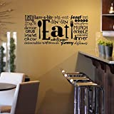 "Eat Phrases Vinyl Lettering Wall Decal Sticker (12.5""H x 27""L, Black)"