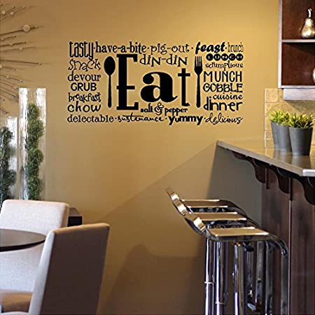 Amazoncom Eat Phrases Vinyl Lettering Wall Decal Sticker H - Wall stickers for dining roomdining room wall decals wall decal knife spoon fork wall decal