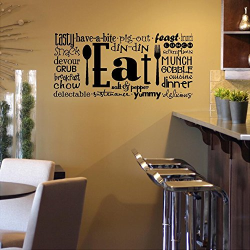 """Kitchen Wall Sayings Vinyl Lettering: Eat Phrases Vinyl Lettering Wall Decal Sticker (12.5""""H X 27""""L, Black)"""