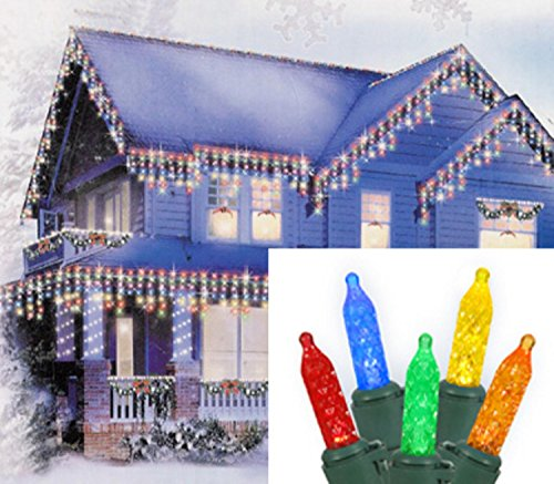 Blue Led Icicle Lights With Green Wire in US - 4
