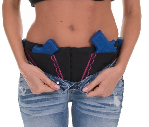 Hip Hugger Classic Holster - Women's Gun & Weapon Concealed Carry Holster - available in Black with Black, Pink, Purple, Green or Denim Blue Accents! by Can Can Concealment LLC
